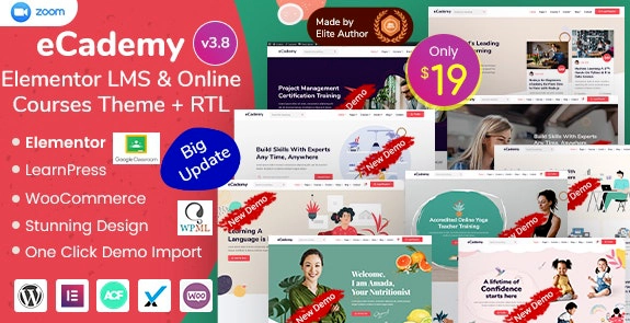 eCademy v4.2 - Elementor LMS & Online Courses Theme Nulled
